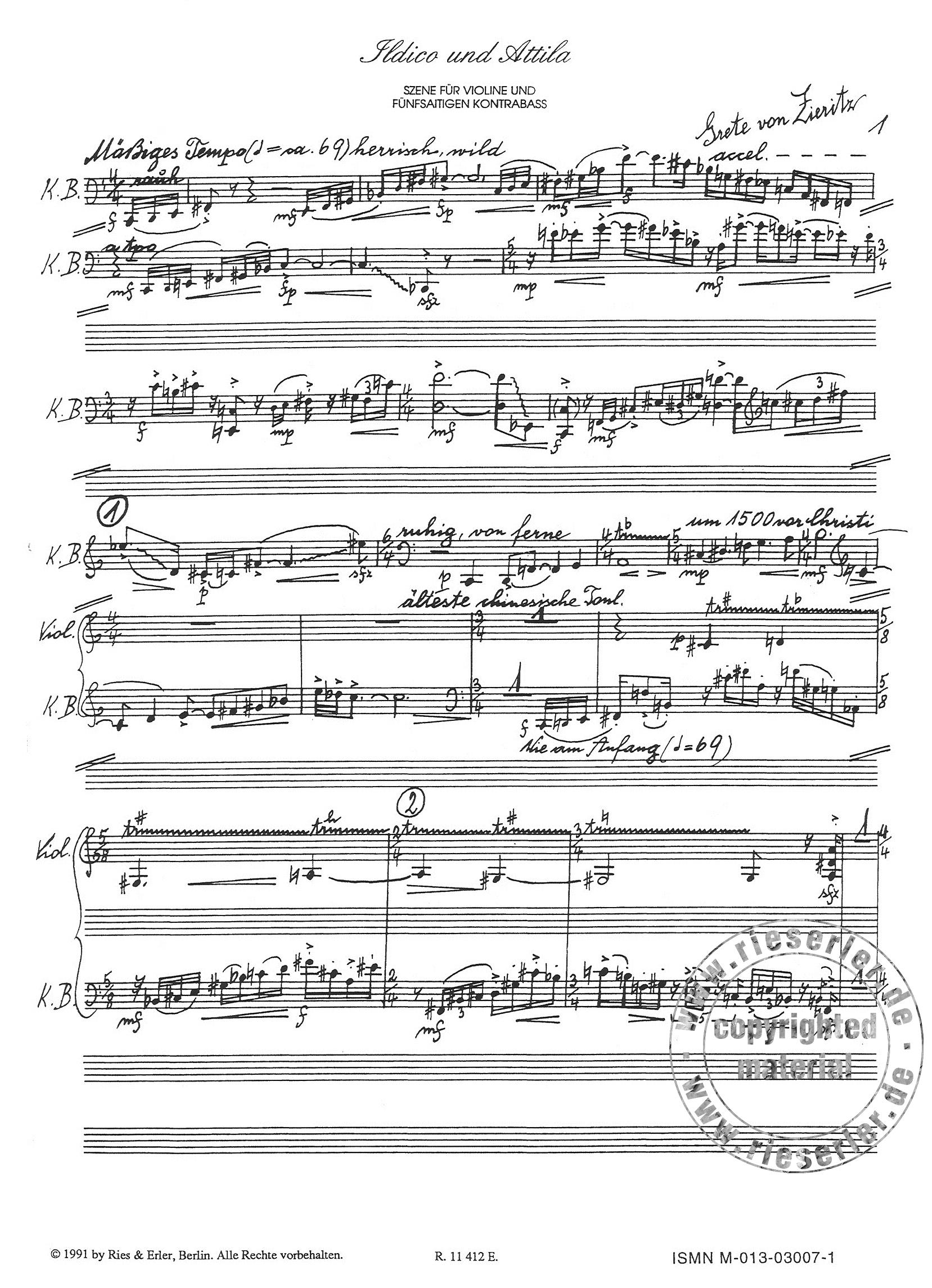 Ildico und Attila   Szene für Violine und Kontrabass